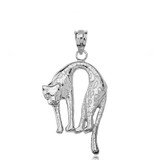 Sterling Silver Arched Cheetah Pendant Necklace