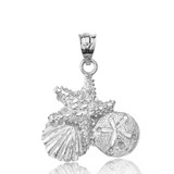 Sterling Silver Sparkle Cut Starfish Clam and Sand Dollar Pendant Necklace
