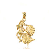 Seahorse Clam and Fish Pendant Necklace in Gold (Yellow/Rose/White)