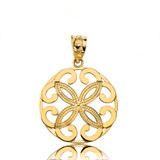 Solid Yellow Gold Openwork Floral Design  Four Petal Flower Round Pendant Necklace