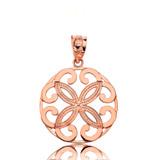 Solid Rose Gold Openwork Floral Design  Four Petal Flower Round Pendant Necklace