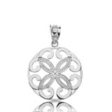Solid White Gold Openwork Floral Design  Four Petal Flower Round Pendant Necklace