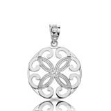 Sterling Silver Openwork Floral Design  Four Petal Flower Round Pendant Necklace