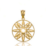 Solid Yellow Gold Sparkle Cut Floral Design Round Pendant Necklace