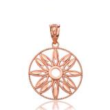 Solid Rose Gold Sparkle Cut Floral Design Round Pendant Necklace