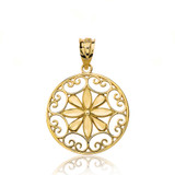 Solid Yellow Gold Sparkle Cut Floral Swirl Design Round Pendant Necklace