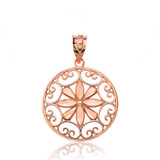 Solid Rose Gold Sparkle Cut Floral Swirl Design Round Pendant Necklace