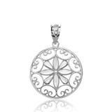 Solid White Gold Sparkle Cut Floral Swirl Design Round Pendant Necklace
