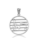 Sterling Silver Music Notes Circle Pendant Necklace