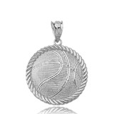 Basketball Pendant Necklace in White Gold