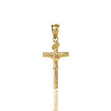 Solid Yellow Gold INRI Jesus of Nazareth Crucifix with Wooden Texture Pendant Necklace (Small)