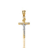 Solid Two Tone Yellow Gold INRI Jesus of Nazareth Crucifix with Wooden Texture Pendant Necklace (Small)