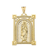 Cubic Zirconia Saint Mary Pendant Necklace in Gold (Yellow/Rose/White)