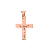 """Solid Crucifix in Rose Gold (1.3"""")"""