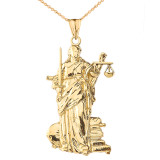 Lady Justice Pendant Necklace in Gold (Yellow/Rose/White)