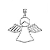 Openwork Angle Pendant Necklace in White Gold