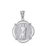 Solid White Gold Saint Andrew Pray For Us Diamond Circular Frame Pendant Necklace