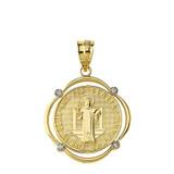 Solid Yellow Gold Saint Benito Diamond Circular Frame Pendant Necklace