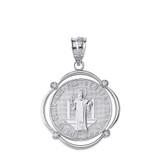 Sterling Silver Saint Benito CZ Circular Frame Pendant Necklace
