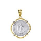 Two Tone Yellow Gold Saint Benito Diamond Circular Frame Pendant Necklace