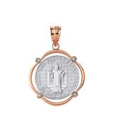 Solid Two Tone Rose Gold Saint Benito Diamond Circular Frame Pendant Necklace