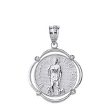 Solid White Gold Saint Lazarus Pray For Us Diamond Circular Frame Pendant Necklace