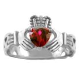 Silver Claddagh Trinity Band with Garnet Red CZ Heart