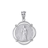 Solid White Gold Saint Peter Pray For Us Diamond Circular Frame Pendant Necklace
