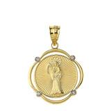 Solid Yellow Gold Santa Muerte Diamond Circular Frame Pendant Necklace