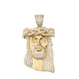 Diamond Jesus Pendant Necklace in Gold (Yellow/Rose/White)