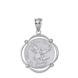 Sterling Silver Saint Michael Pray For Us CZ Circular Frame Pendant Necklace