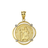 Solid Yellow Gold Saint Christopher Protect Us Diamond Circular Frame Pendant Necklace