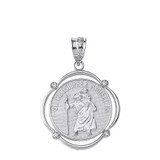 Solid White Gold Saint Christopher Protect Us Diamond Circular Frame Pendant Necklace