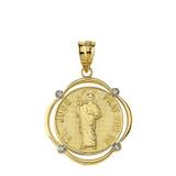 Solid Yellow Gold Saint Jude Pray For Us Diamond Circular Frame Pendant Necklace