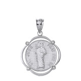Solid White Gold Saint Jude Pray For Us Diamond Circular Frame Pendant Necklace