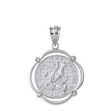 Solid White Gold Saint George Pray For Us Diamond Circular Frame Pendant Necklace