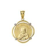 Solid Yellow Gold Saint Nectarios Diamond Circular Frame Pendant Necklace