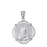 Solid White Gold Saint Nectarios Diamond Circular Frame Pendant Necklace