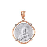 Solid Two Tone Rose Gold Saint Nectarios Diamond Circular Frame Pendant Necklace