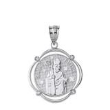 Solid White Gold Saint Patrick Diamond Circular Frame Pendant Necklace
