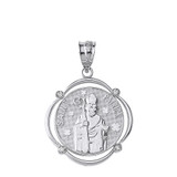 Sterling Silver Saint Patrick CZ Circular Frame Pendant Necklace