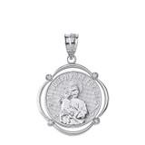 Solid White Gold Saint Joseph Pray For Us Diamond Circular Frame Pendant Necklace