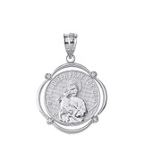 Sterling Silver Saint Joseph Pray For Us CZ Circular Frame Pendant Necklace