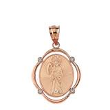 Solid Rose Gold Santa Muerte Diamond Oval Frame Pendant Necklace