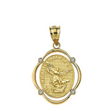 Solid Yellow Gold Saint Michael Pray For Us Diamond Oval Frame Pendant Necklace