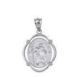 Solid White Gold Saint Christopher Protect Us Diamond Oval Frame Pendant Necklace