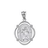 Sterling Silver Saint Christopher Protect Us CZ Oval Frame Pendant Necklace