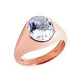 March Birthstone Gentleman's Pinky Ring