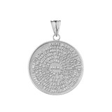 Padre Nuestro / The Lords Prayer Medallion Pendant Necklace in Sterling Silver