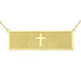 Two Sided The Lords Prayer and Cross Bar Necklace in 14K Yellow Gold